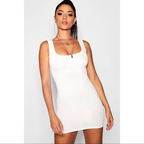 aa335d577c8 Boohoo White Square Neck Bodycon Mini Dress Size 2
